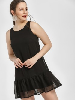 MIWAY Frill Hem Sleeveless Shift Dress