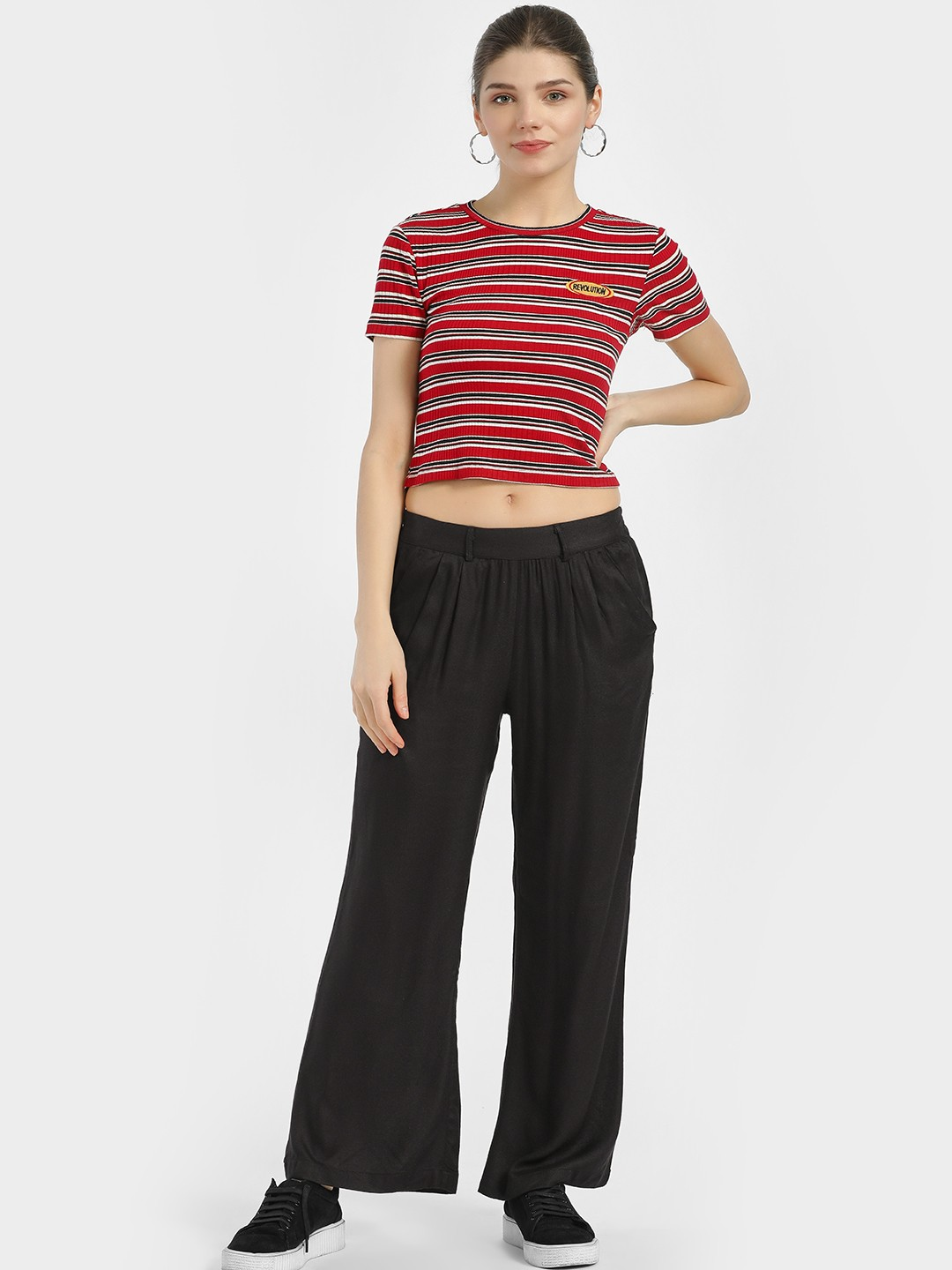 MIWAY Black Woven & Elasticated Waist Trousers 1