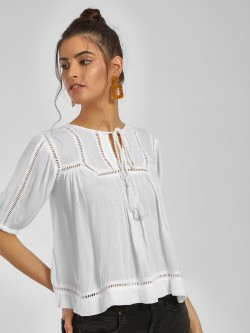 MIWAY Lace Insert Flared Blouse