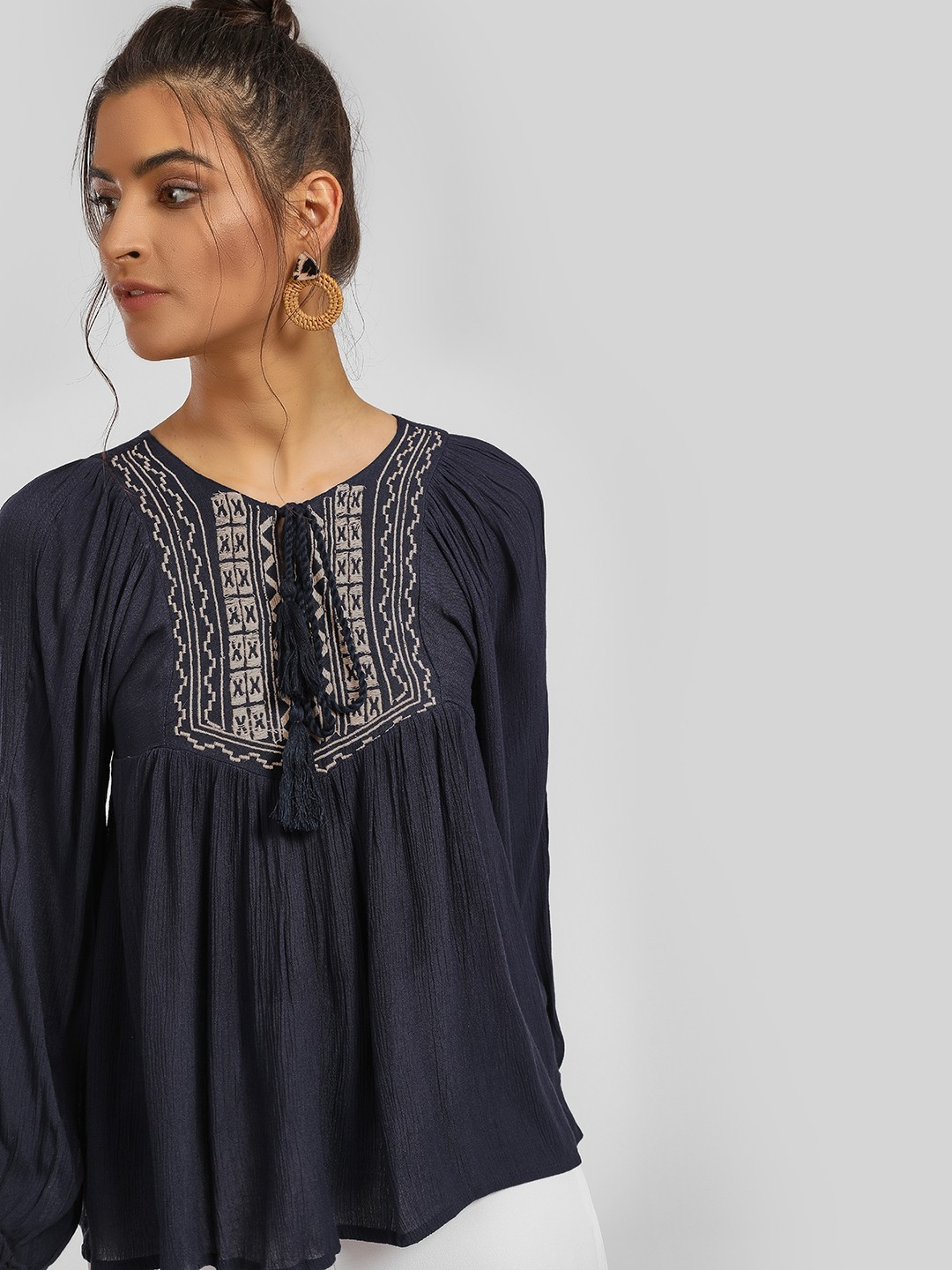 MIWAY Navy Tribal Embroidered Tassel Tie-Up Blouse 1