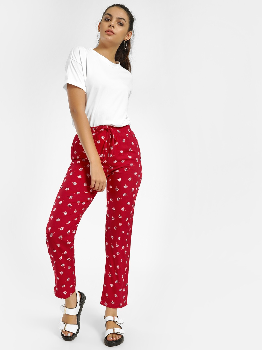 MIWAY Red All Over Leaf Print Cropped Trousers 1