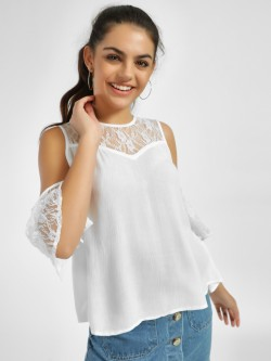 MIWAY Lace Detail Cold Shoulder Blouse