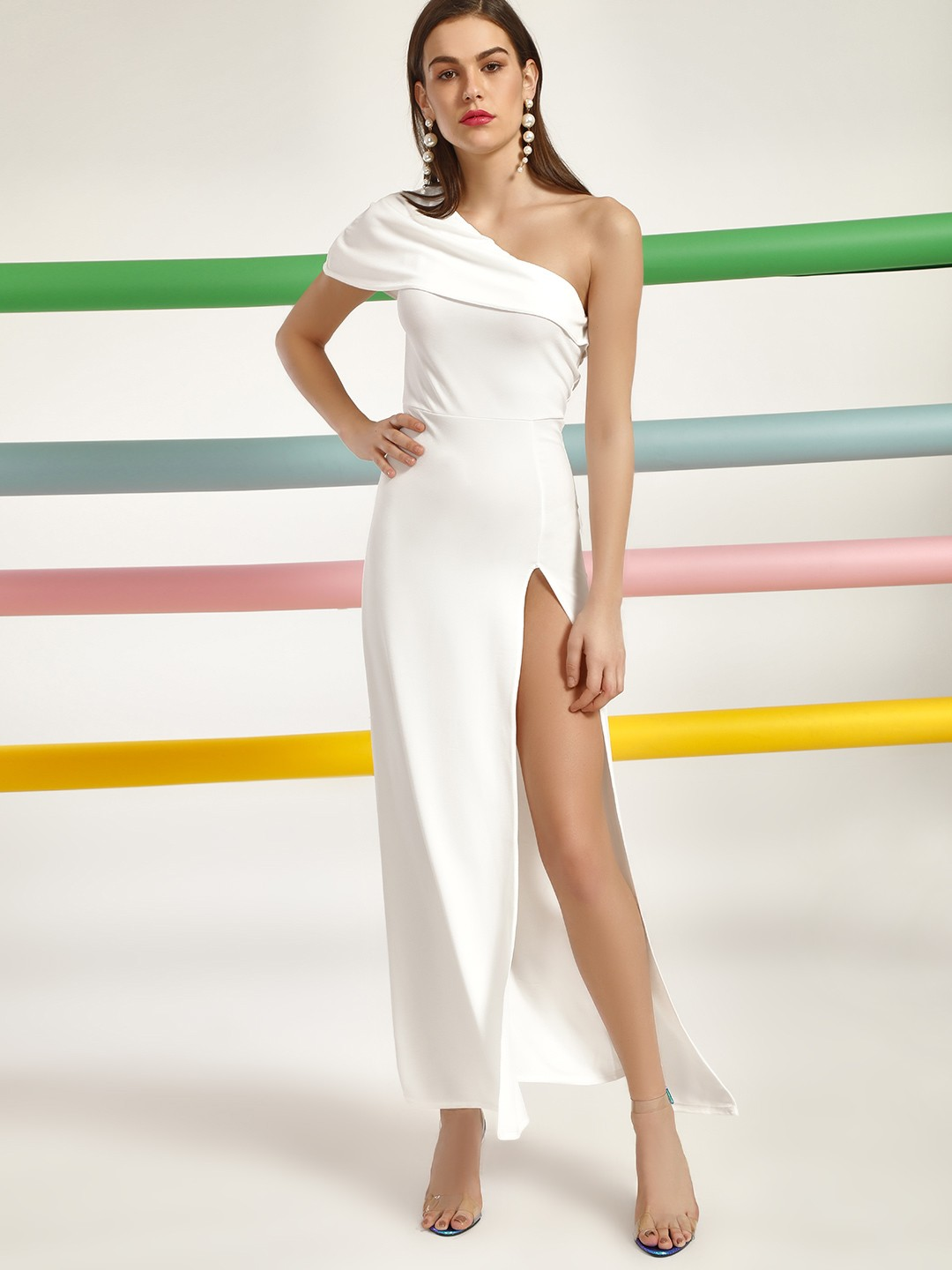 Lasula Ivory Side Slit Maxi Dress 1