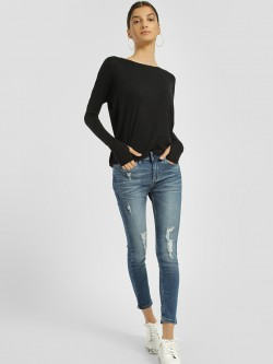 Blue Saint Distressed Light Wash Cropped Skinny Jeans
