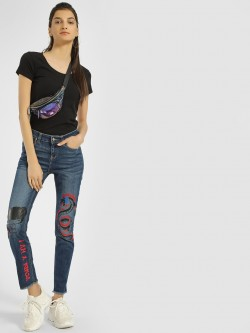 Blue Saint Dragon Print Mid Wash Skinny Jeans