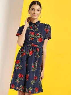 Blue Saint Floral Print Skater Dress