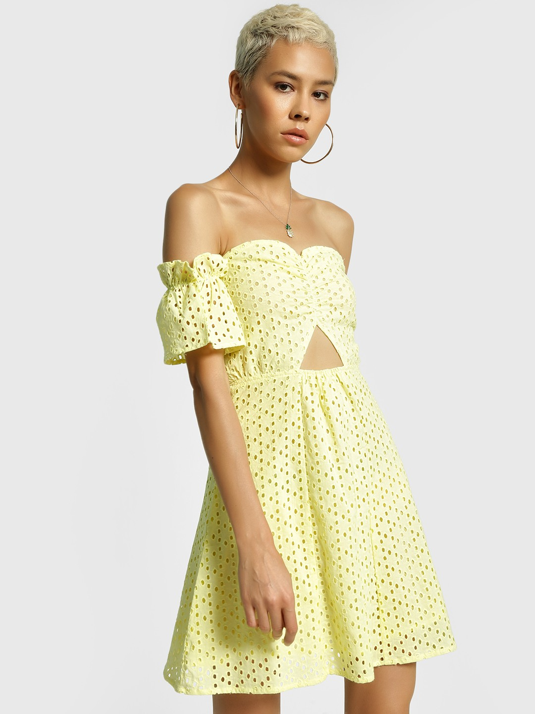 KOOVS Yellow Broderie Cutout Skater Dress 1