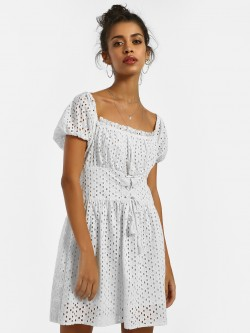 KOOVS Broderie Corset Skater Dress