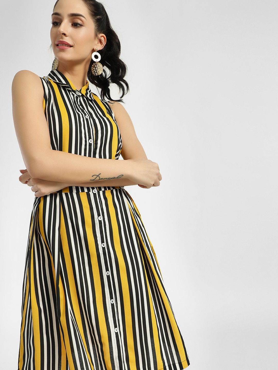 Miaminx Yellow Vertical Multi-Stripe Shirt Dress 1