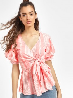 Miaminx Multi Stripe Wrap Top
