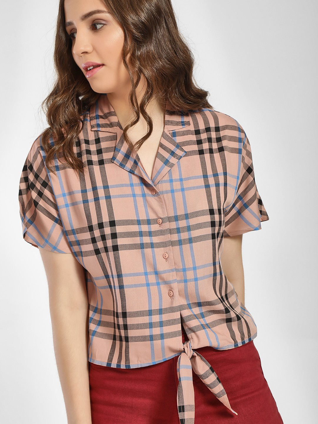 Only Pink Multi-Check Revere Collar Knot Shirt 1