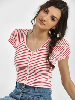 Only Ribbed Stripe Crop T-Shirt