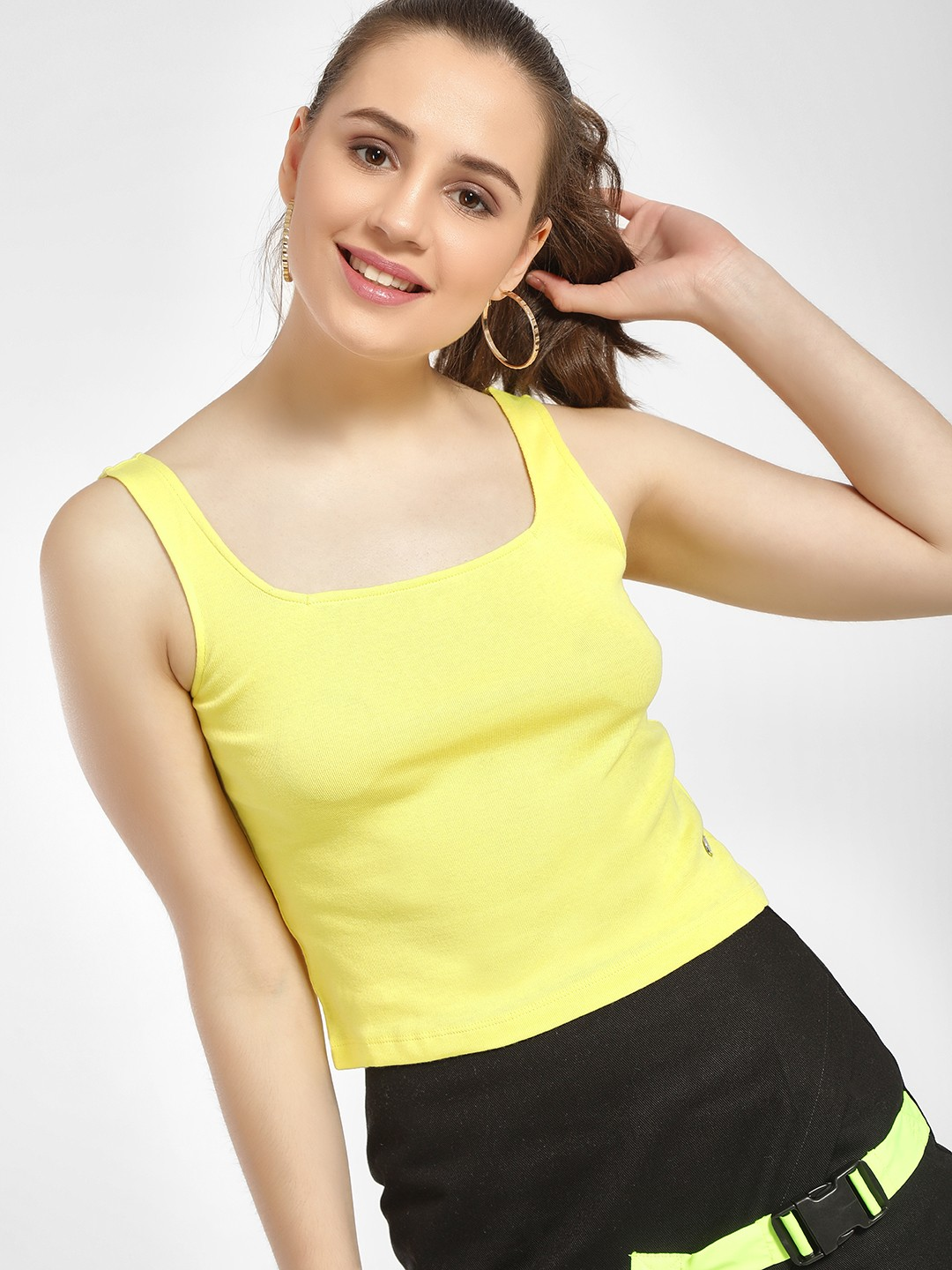 Only Yellow Square Neck Crop Vest 1