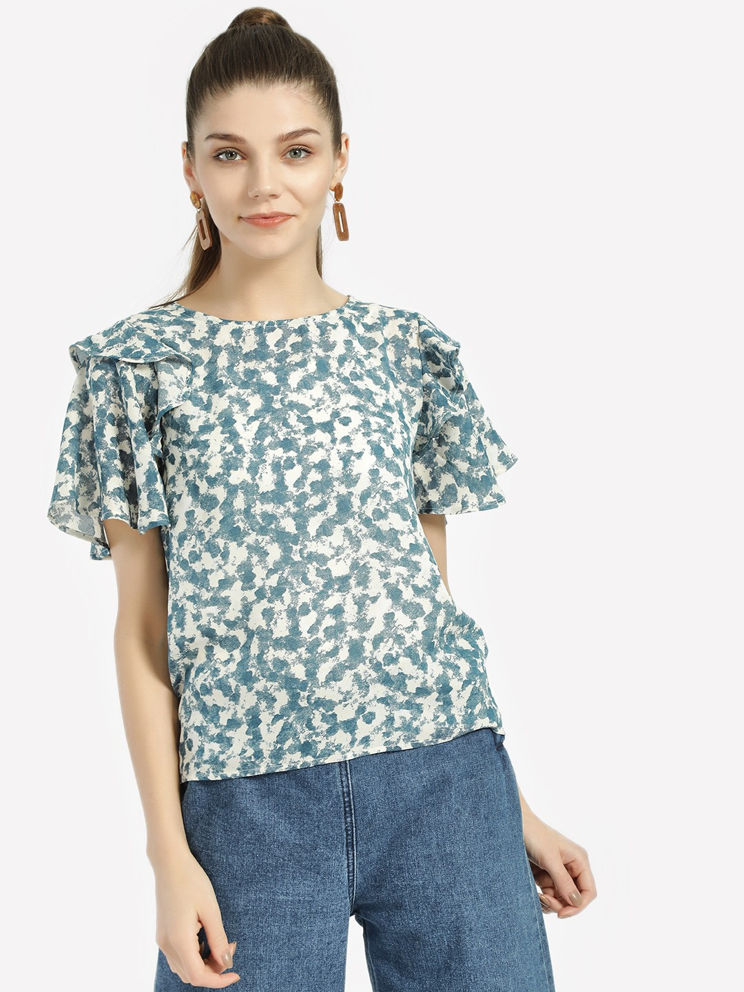 Lee Cooper Blue Abstract Print Tiered Sleeve Tops 1