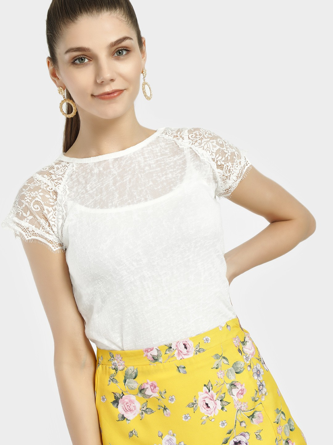 Lee Cooper OFFWHITE Sheer Crochet Lace Sleeve Top 1