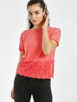 Lee Cooper Crochet Lace Hem Woven Blouse