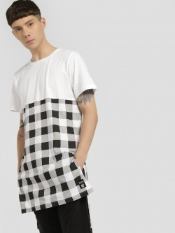 Kultprit Gingham Check Panel Longline T-Shirt