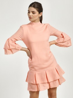 Magzayra Double Layer Pleated Shift Dress