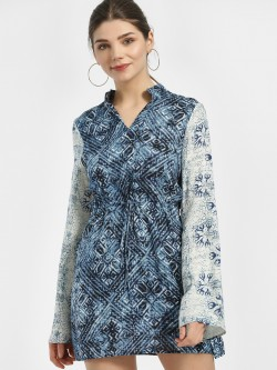Magzayra Bandhani Mixed-Print Shift Dress