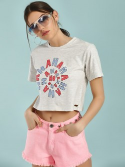 Magzayra Crew Neck Text Print Crop T-Shirt