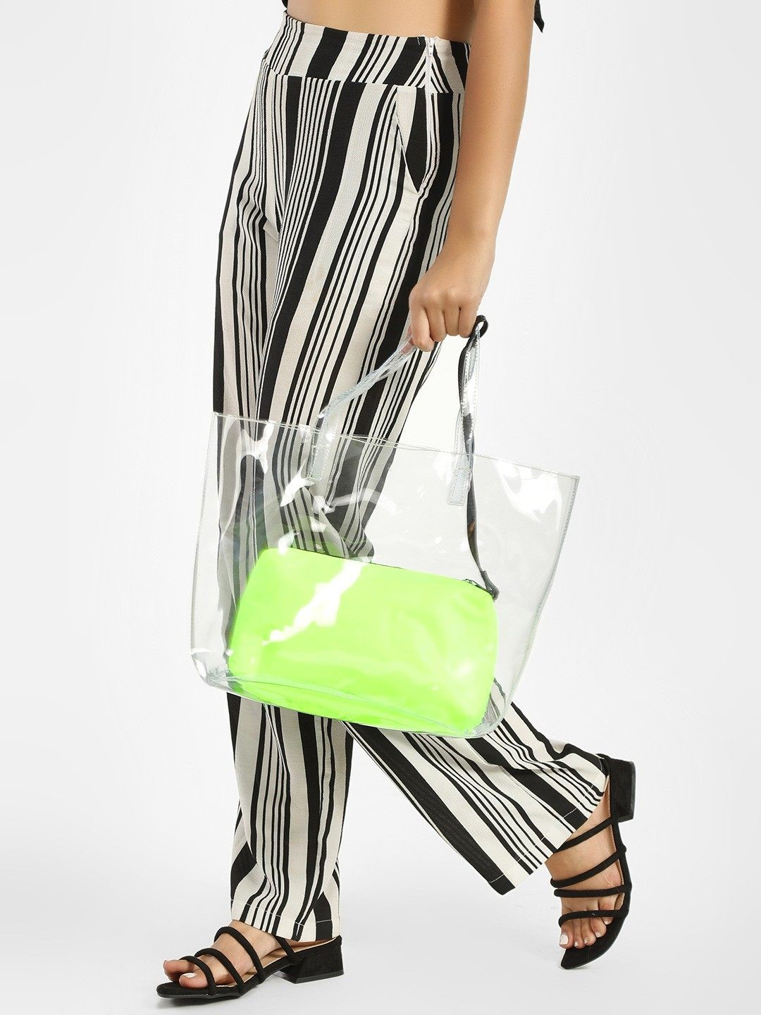 Paris Belle Green Clear Tote Bag 1