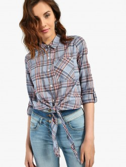 KOOVS Multi Check Tie-Knot Shirt