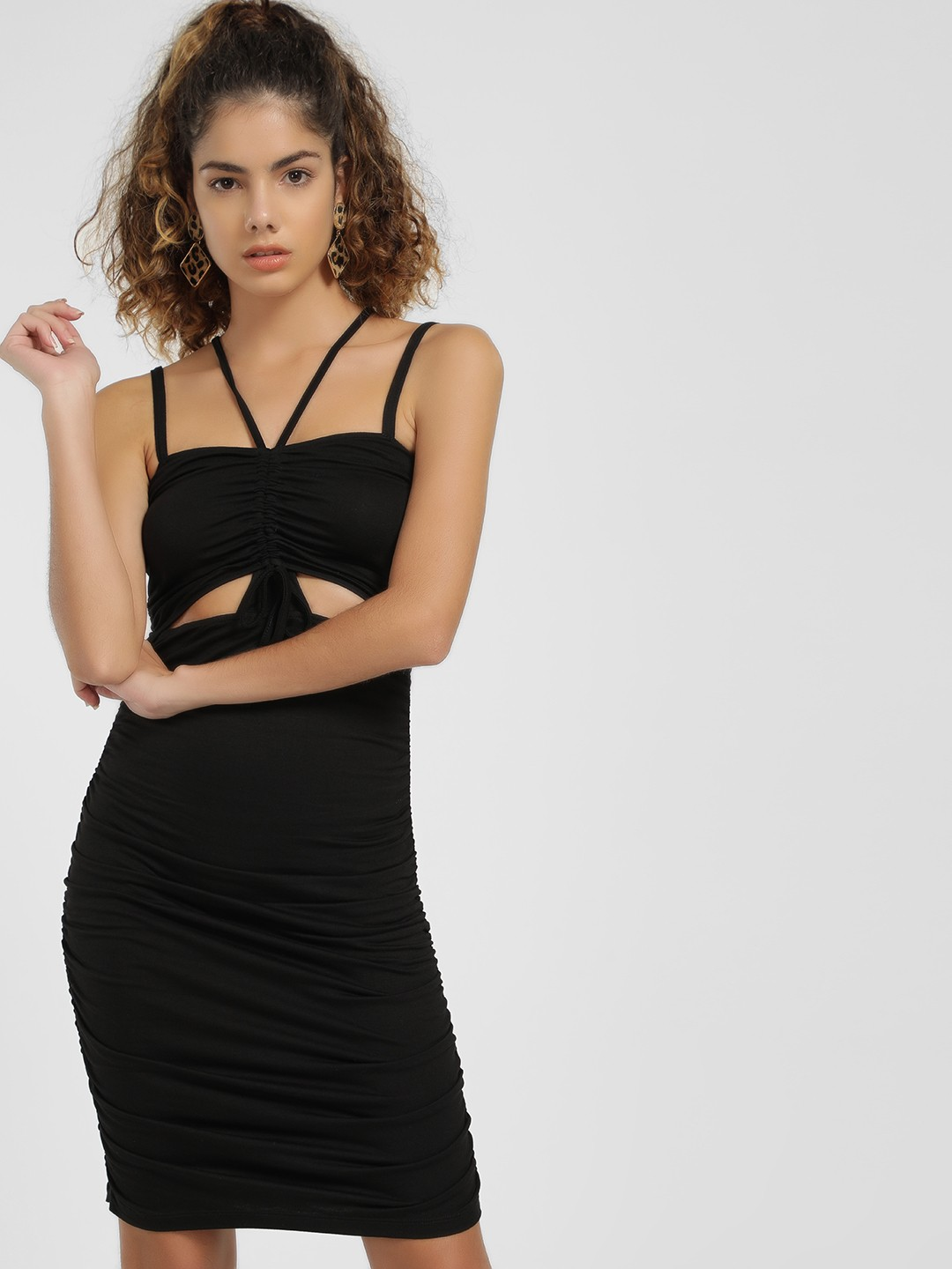 KOOVS Black Ruched Cut-Out Bodycon Dress 1