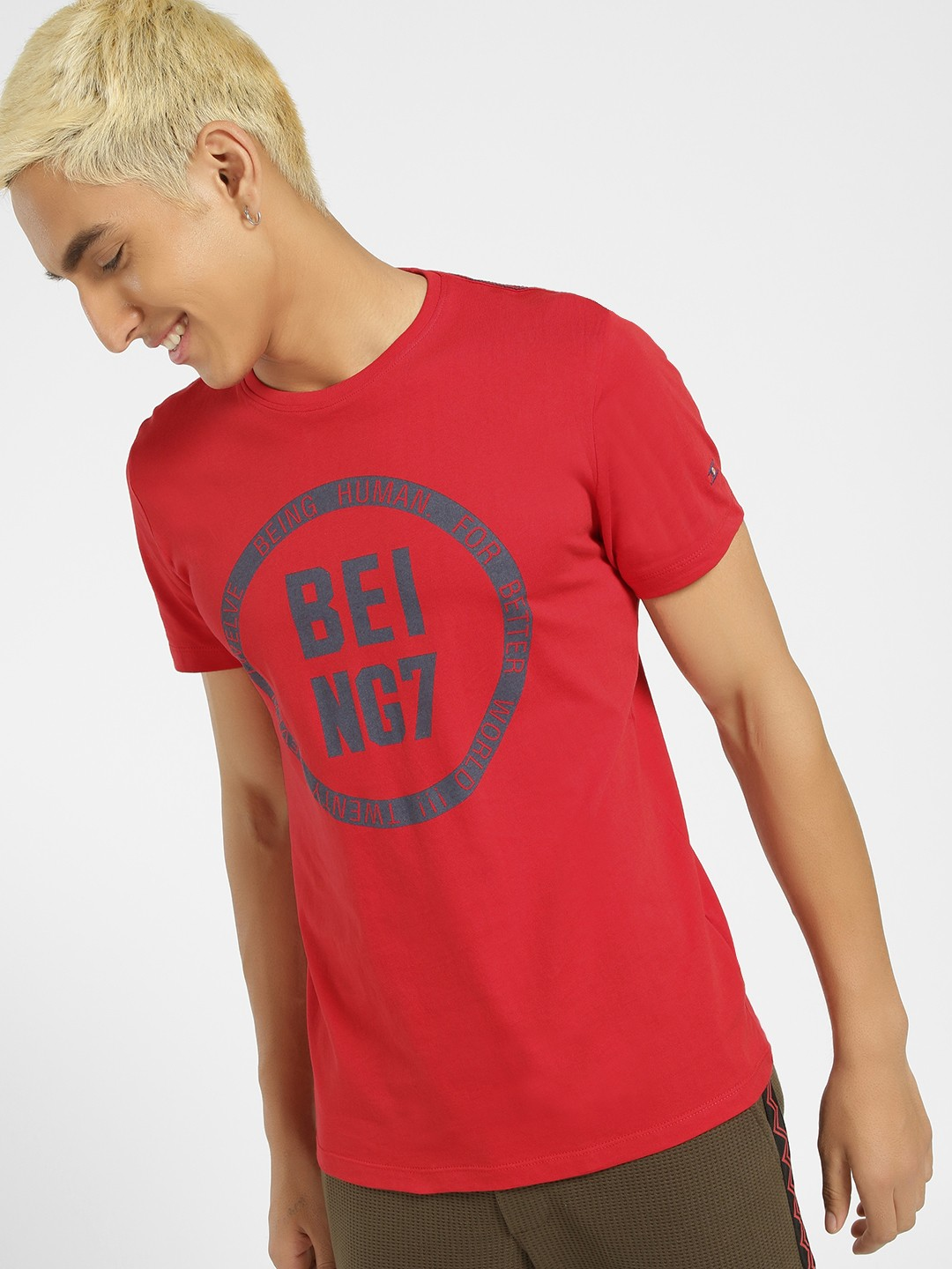 Being Human Red Crew Neck Placement Print T-Shirt 1