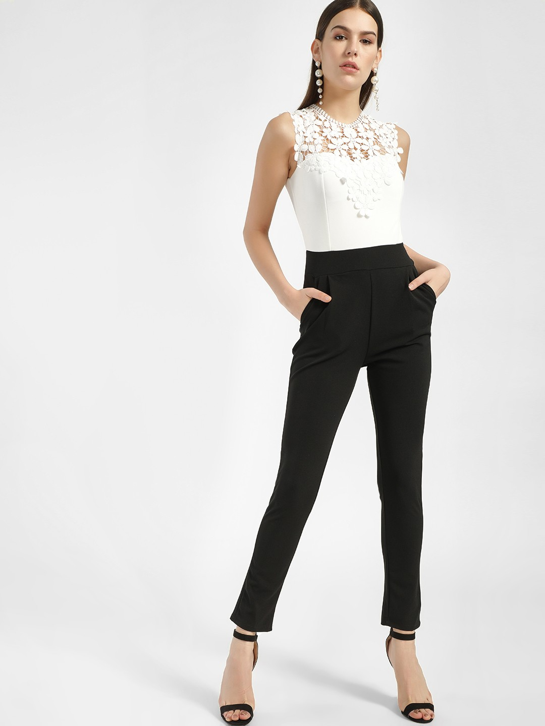 Quiz Cream Colour Block Lace Detail Jumpsuit 1