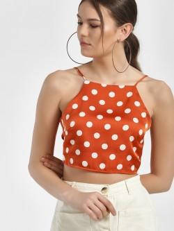 Glamorous Strappy Polka Dot Crop Top