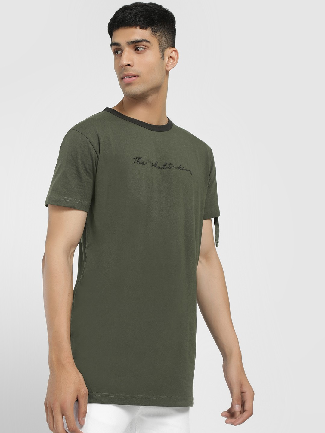 SKULT By Shahid Kapoor Green Text Embroidered Longline T-Shirt 1