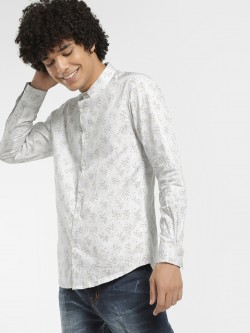 KOOVS Scattered Floral Print Smart Shirt