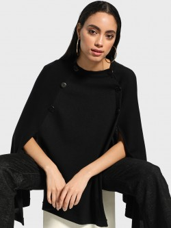Akiva Split Hem Button Detail Poncho