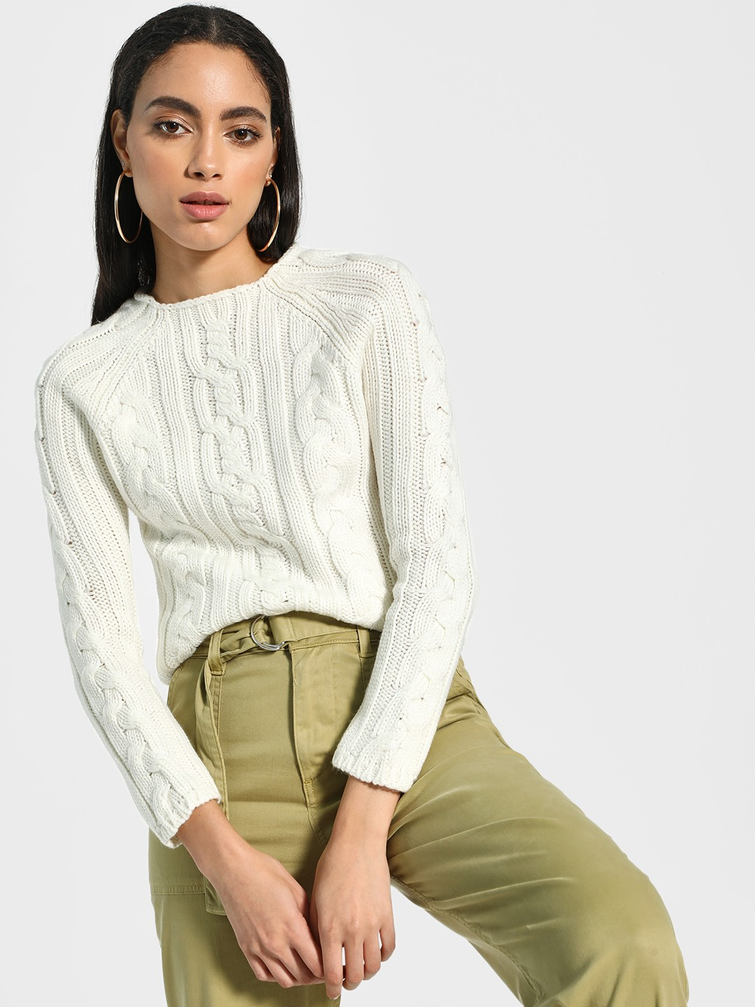 Akiva Off White Cable Knit Structure Pullover 1