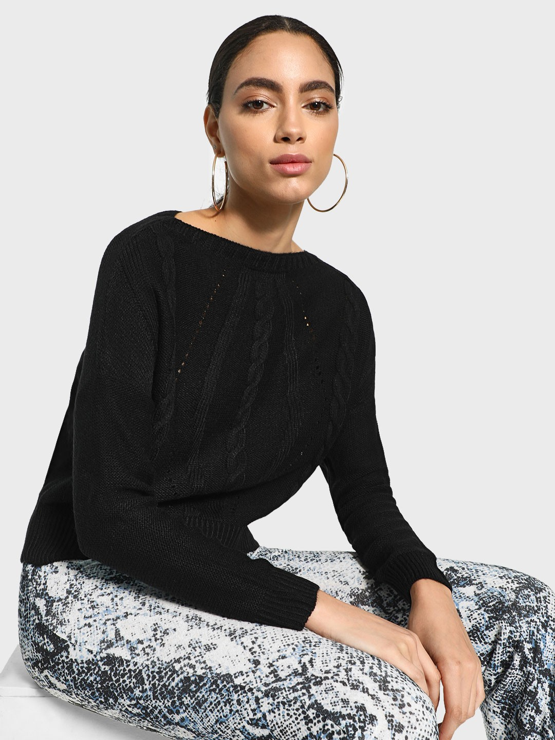Akiva Black Cable Knit Boxy Pullover 1
