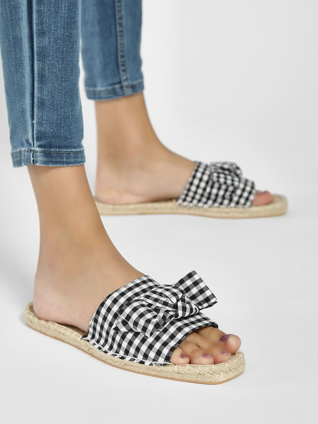 South Beach Black Gingham Check Bow Front Espadrille Slides 1