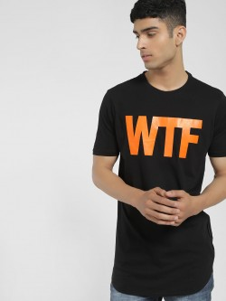 Tiktauli Wtf Placement Print Longline T-Shirt