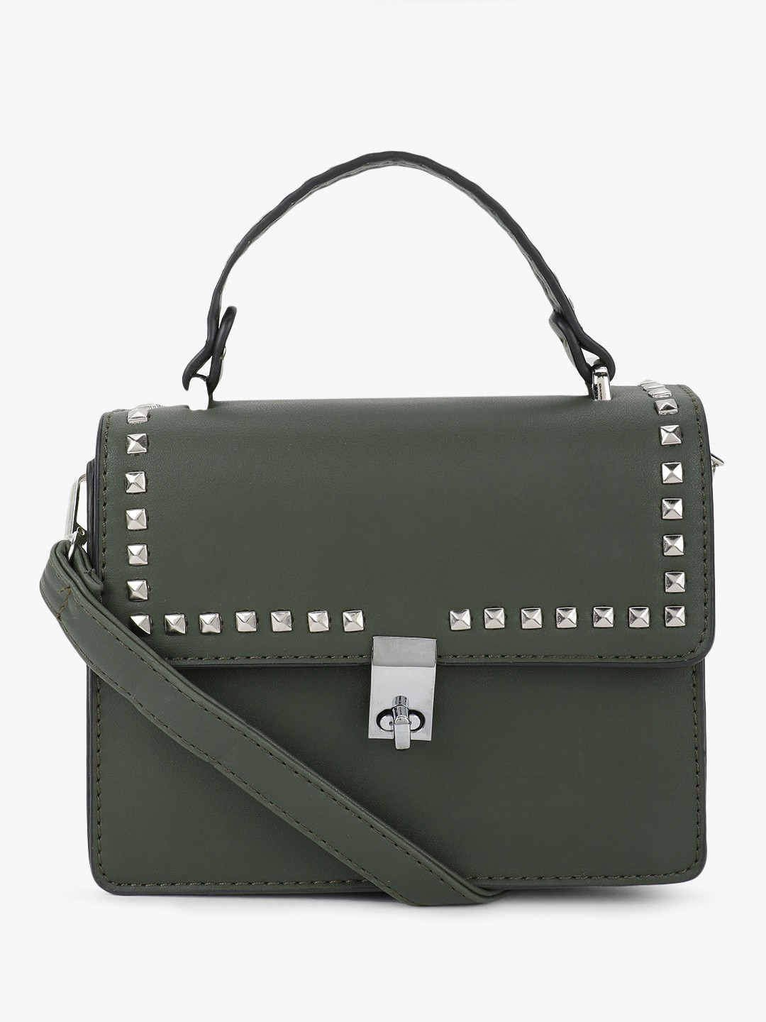 People Green Studded Handbag Cum Sling Bag 1