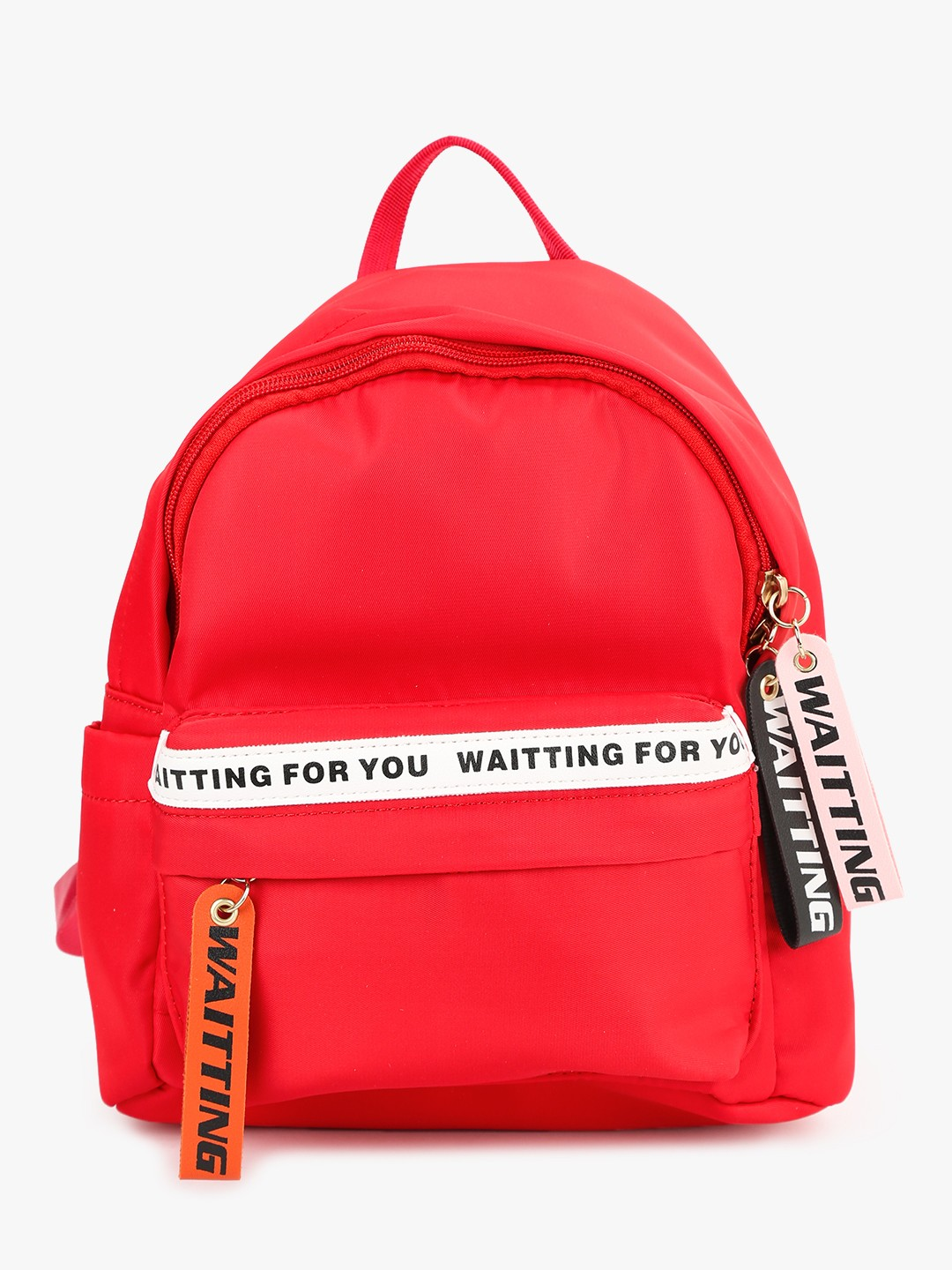 People Red Printed Strap Detail Backpack 1