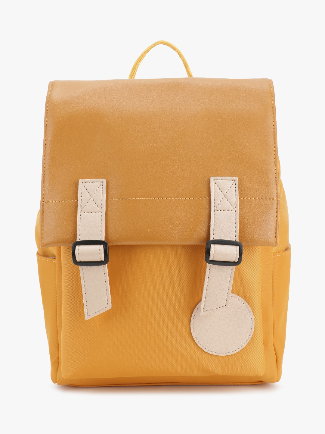 People Yellow Two Tone Buckle Strap Backpack 1