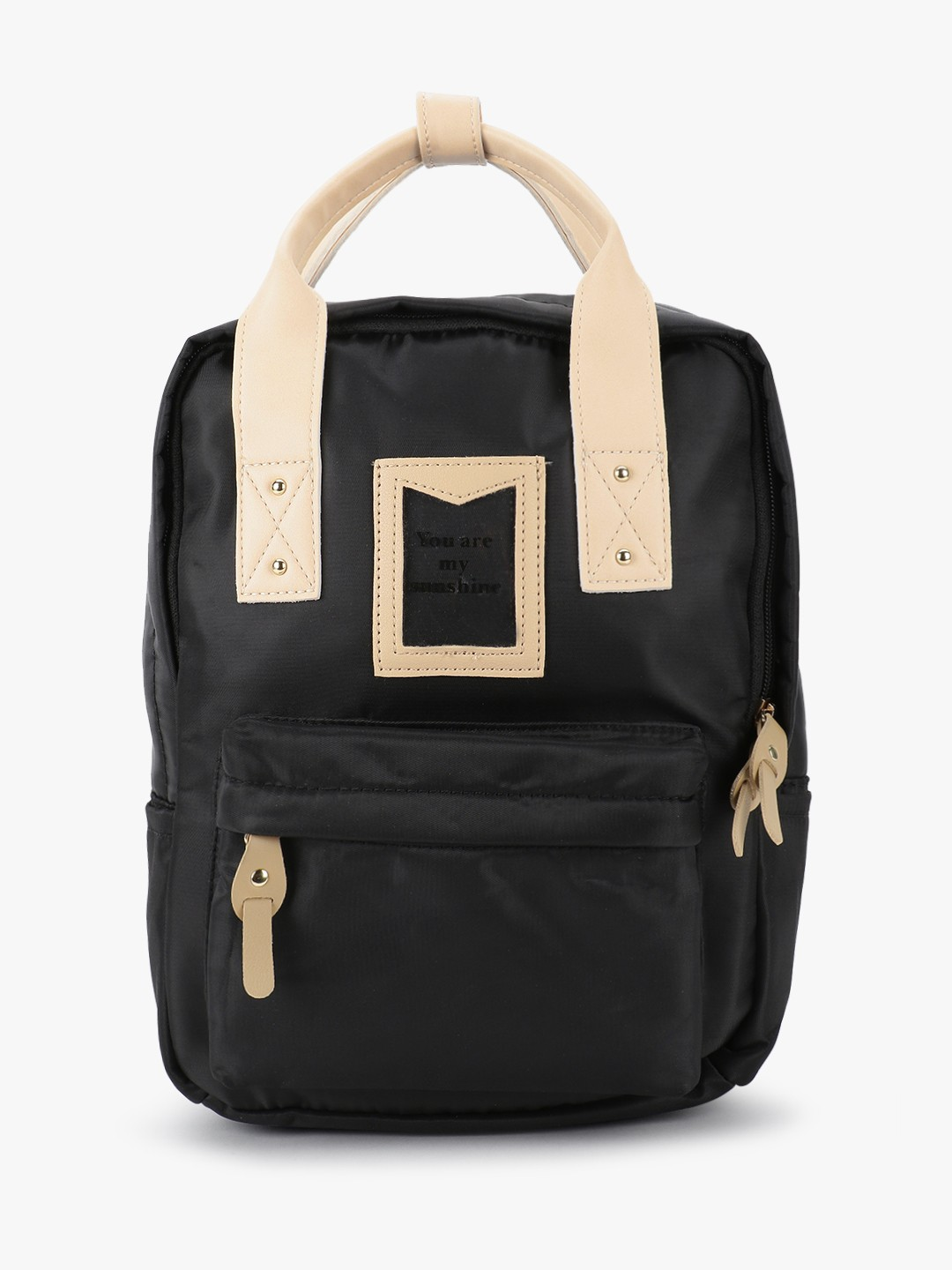 People Black Contrast Handle Slogan Backpack 1