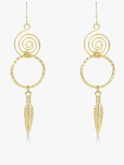 Zero Kaata Spiral Concentric Leaf Drop Earrings