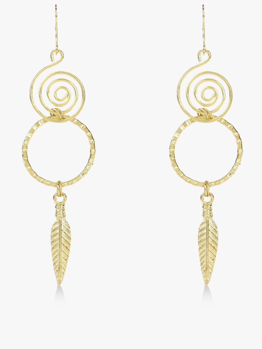 Zero Kaata Gold Spiral Concentric Leaf Drop Earrings 1