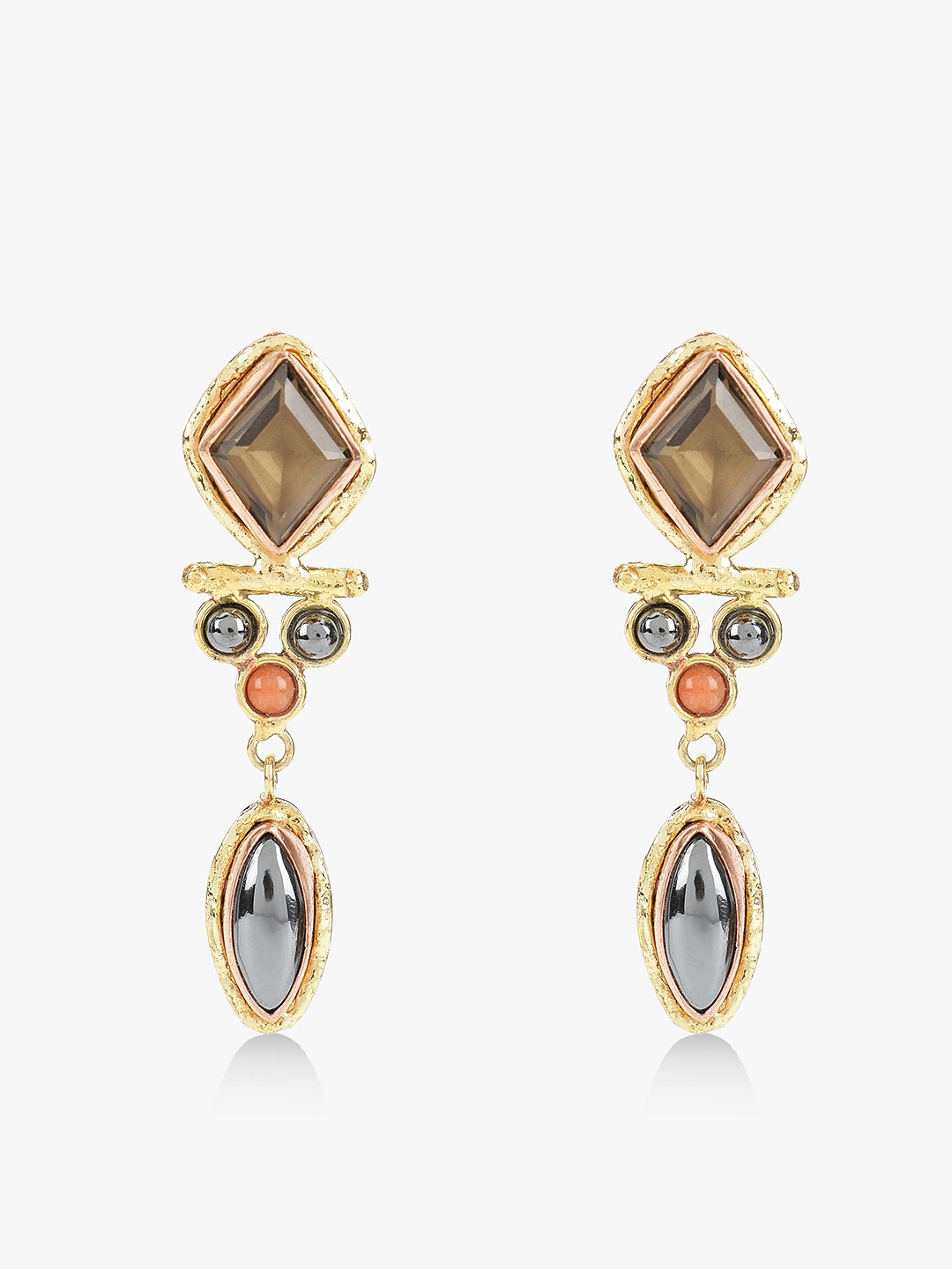 Zero Kaata Multi Stone Drop Down Geometric Earrings 1