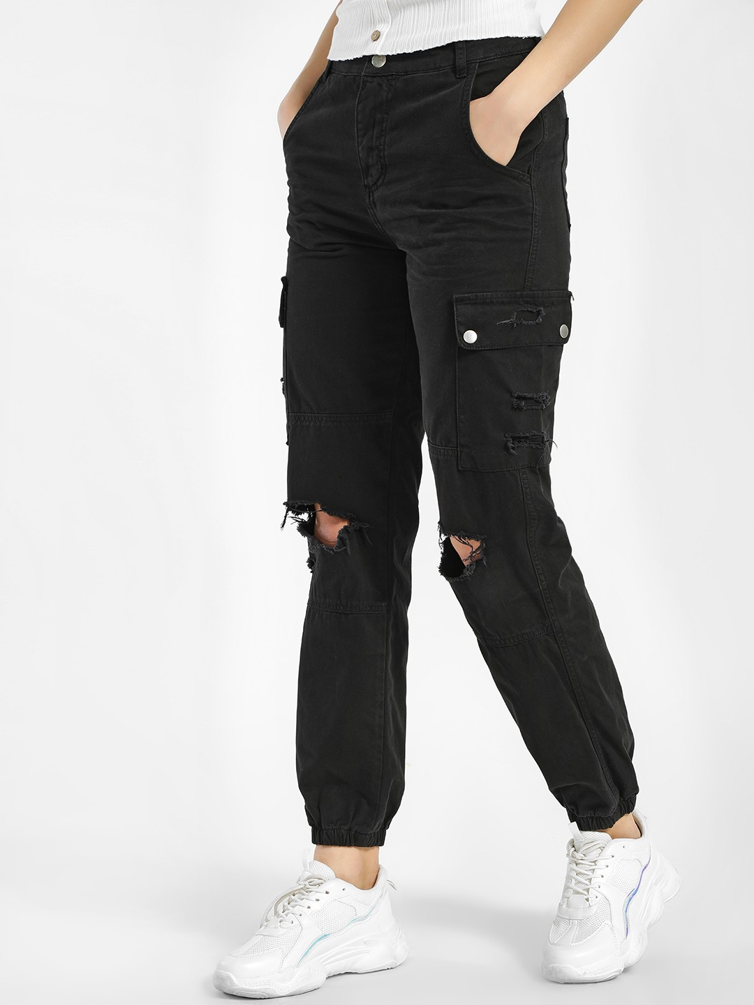New Look Black Ripped Knee Utility Cuffed Trousers 1