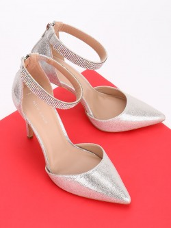 New Look Diamante Embellished Strap Metallic Pumps