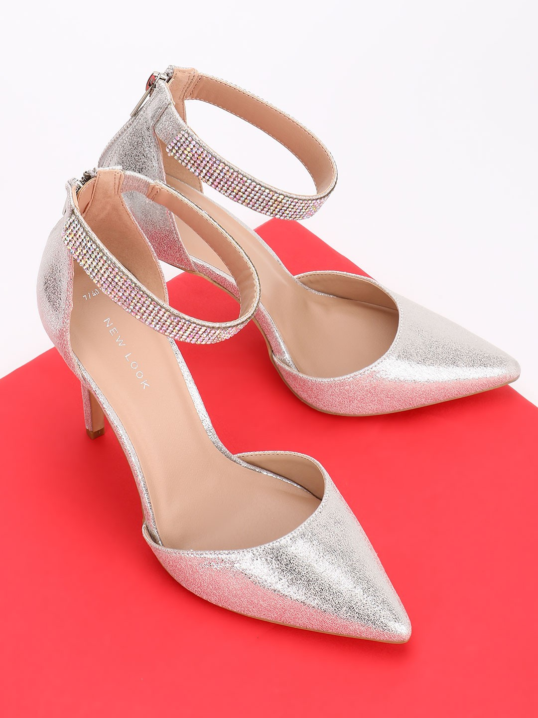 New Look Silver Diamante Embellished Strap Metallic Pumps 1