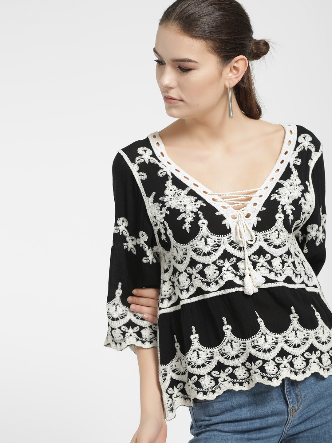New Look Black Crochet Lace Embroidered Blouse 1