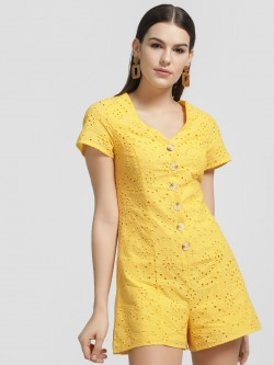 New Look Broderie Button Front Playsuit