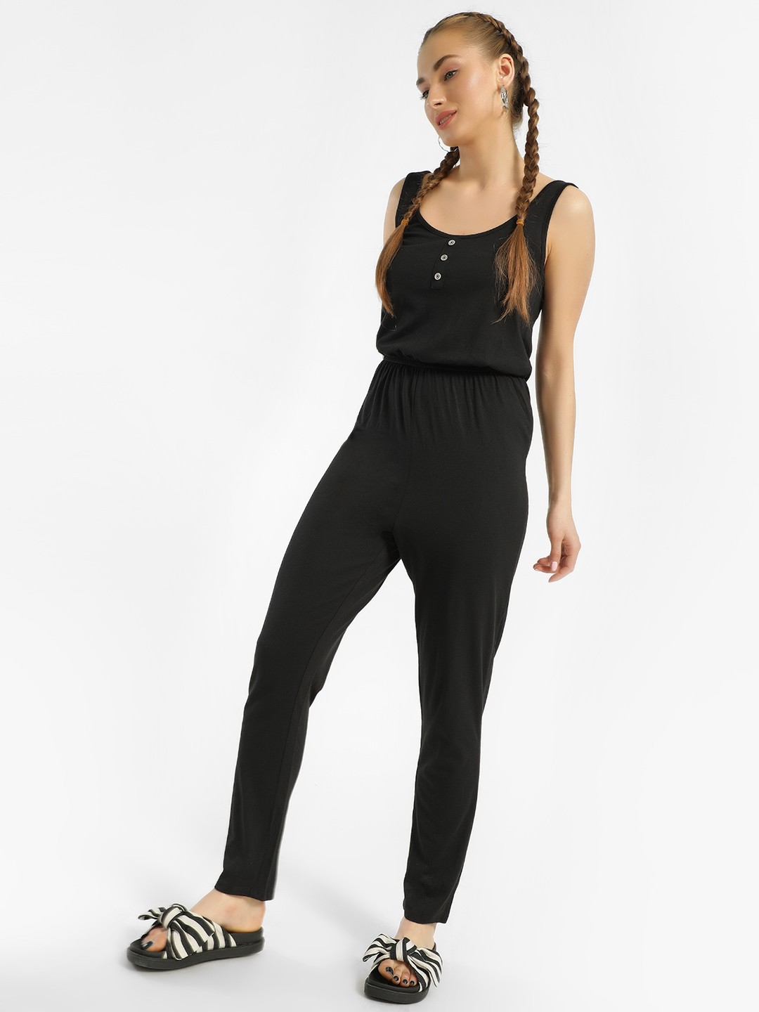 New Look Black Button Front Sleeveless Slim Jumpsuit 1